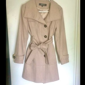 Kenneth Cole Beige-Light Tan Wool Trench Coat